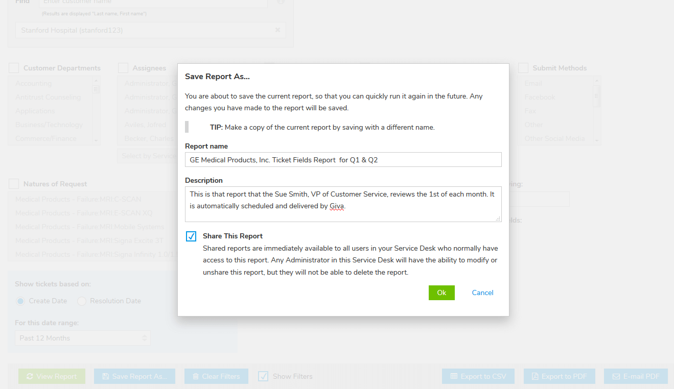 Save name & share any custom Report